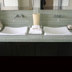 Glass Tile Countertop Tiled Countertop Bathroom Bathroom