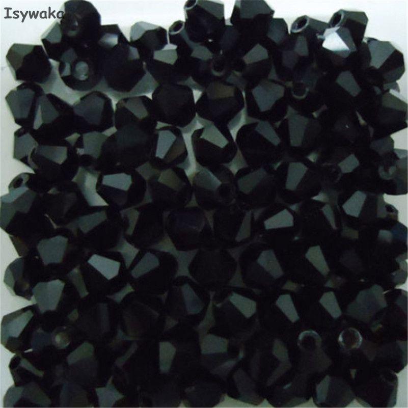 Venta Popular negro colores 100 unids 4mm Bicone Austria Cristal encanto de Los Granos de Cristal Flojo de Los Granos Del Espaciador Del Grano de DIY Fabricación de la joyería