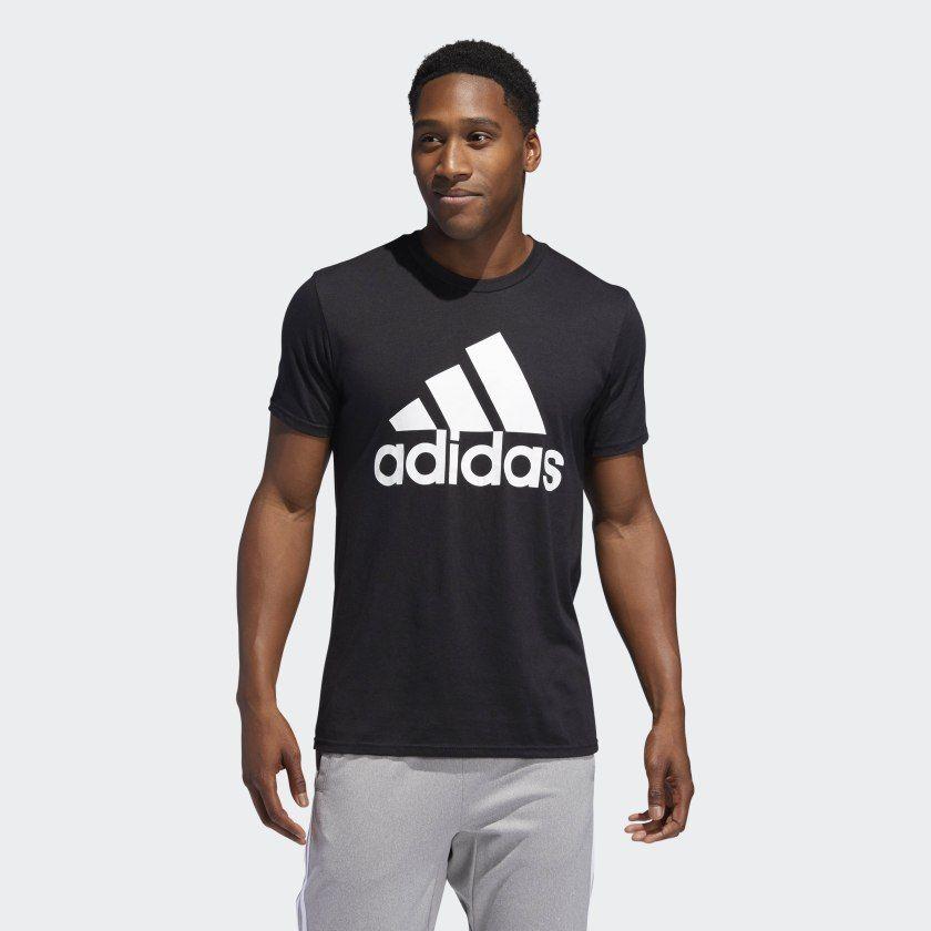 AZ1532 Mens Adidas Badge of Sport Classic Tee Black White