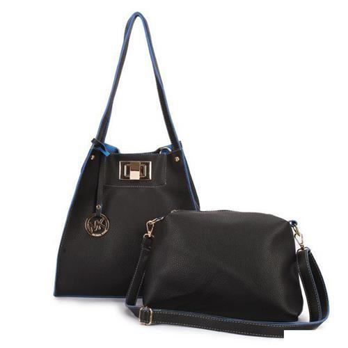Michael Kors Turn Lock Logo Large Black Shoulder Bags
