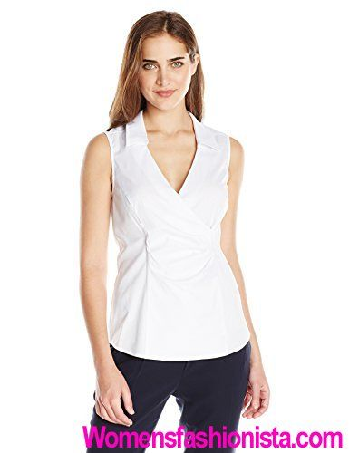 b9281fc3ac7f9 NYDJ Women s Sleeveless Wrap Blouse W. Detachable Fit Solution Review -  http