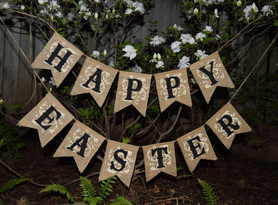 Easter Banner Decor Bunny Garland Rustic Happy Burlap Photo Prop