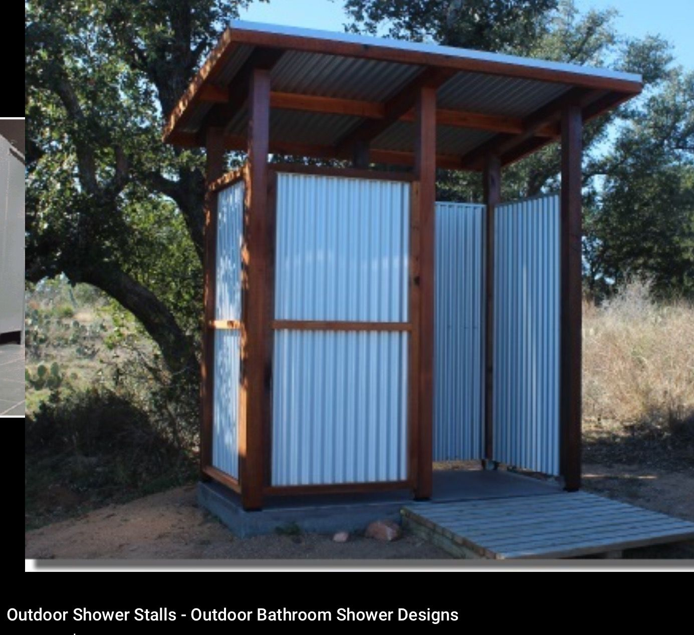 Use the corrugated metal to create bathroom stalls. Framed with woo ...