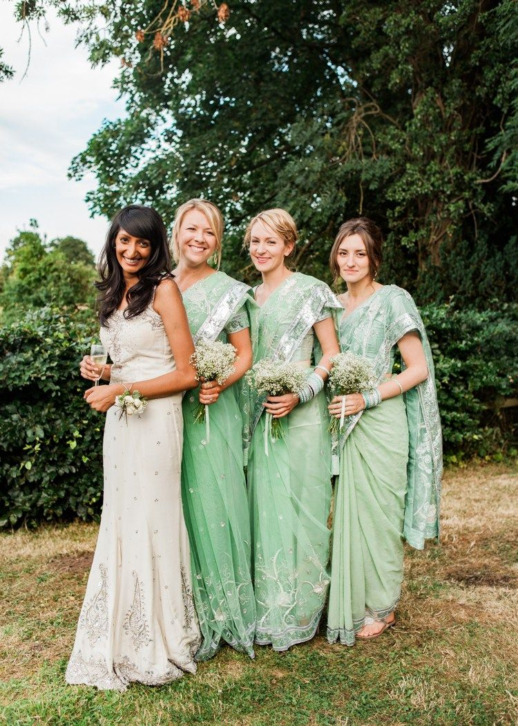 203f53be8dd5 Green Saris Bridesmaids Indian Mint Garden Party - love this brides white  gown and the mint on the bridesmaids; Use this look for your fusion wedding  ...