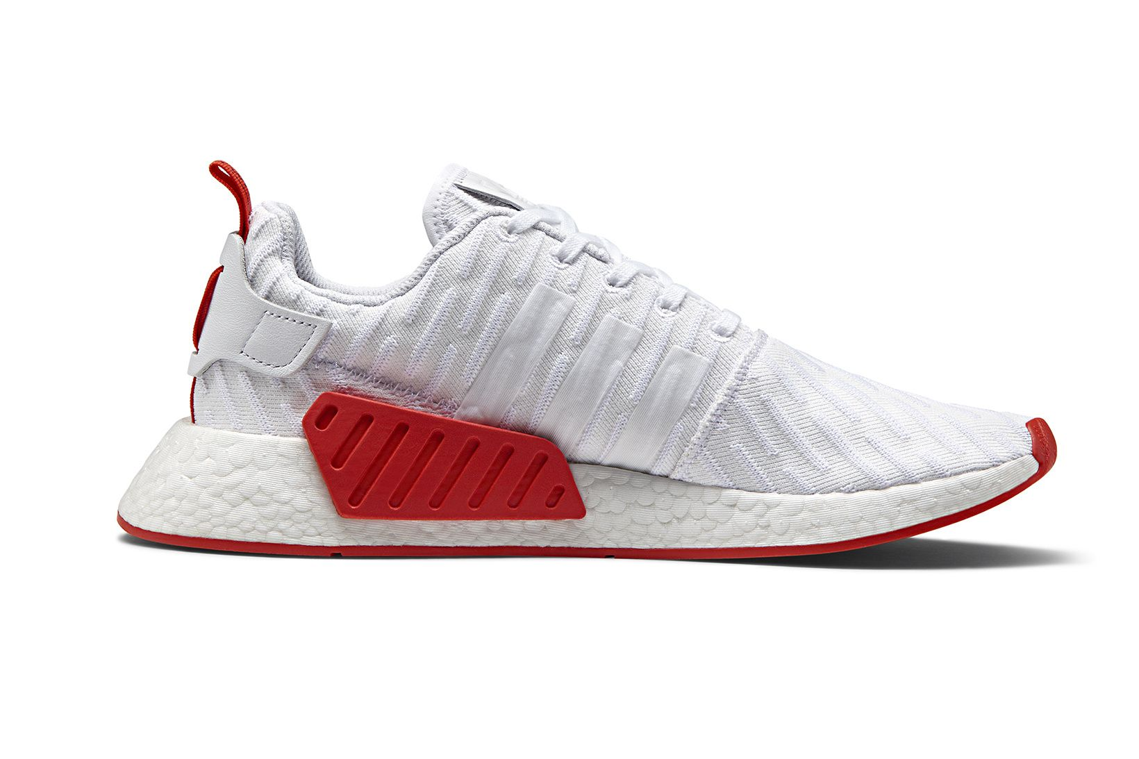 The Adidas Nmd R2 In An Understated White And Red Colorway Arrives
