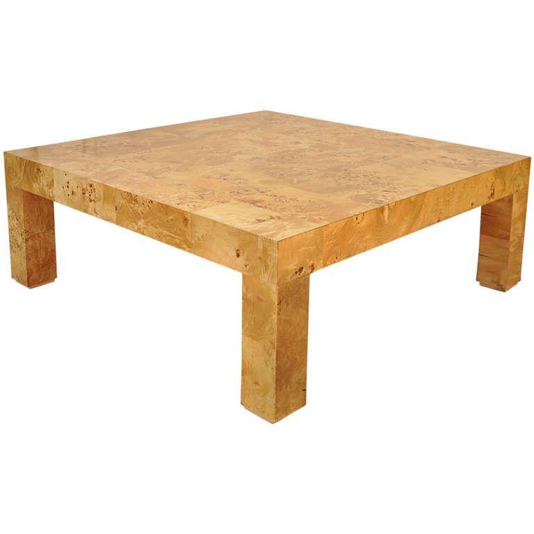 Burl patchwork parsons square coffee table attr milo