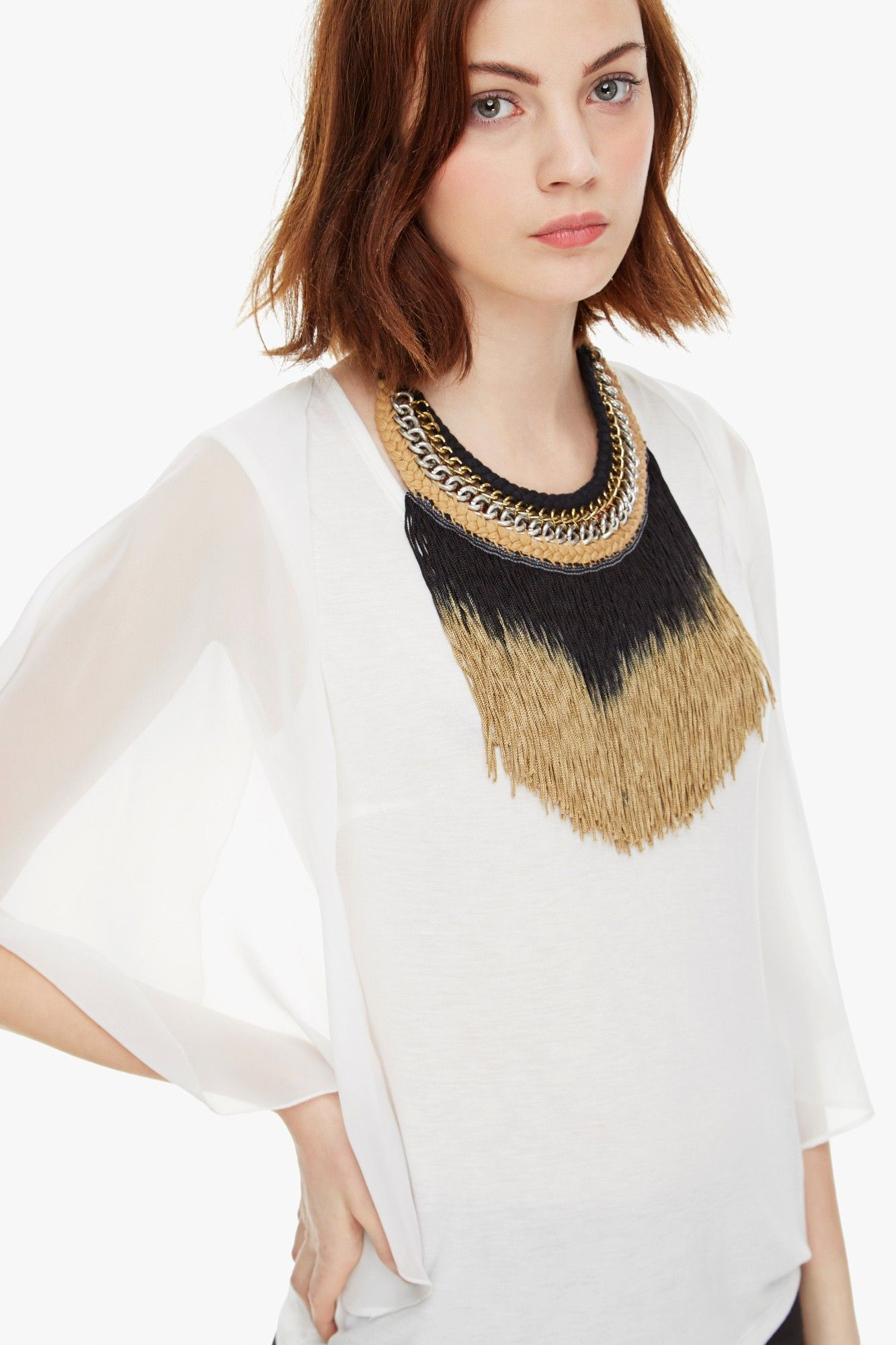 Camiseta b sica con volantes de gasa camisetas adolfo for Vestidos largos adolfo dominguez outlet