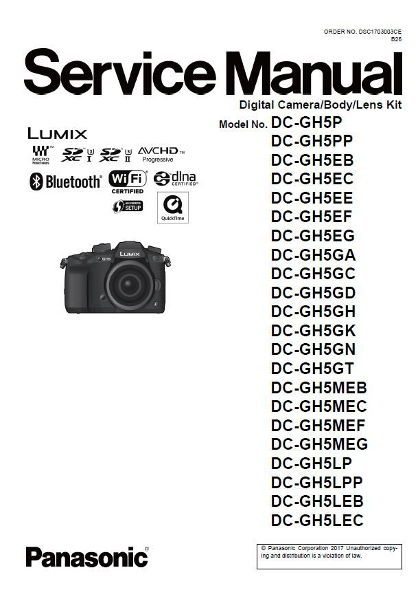 Panasonic Lumix DC GH5 Service Manual and Repair