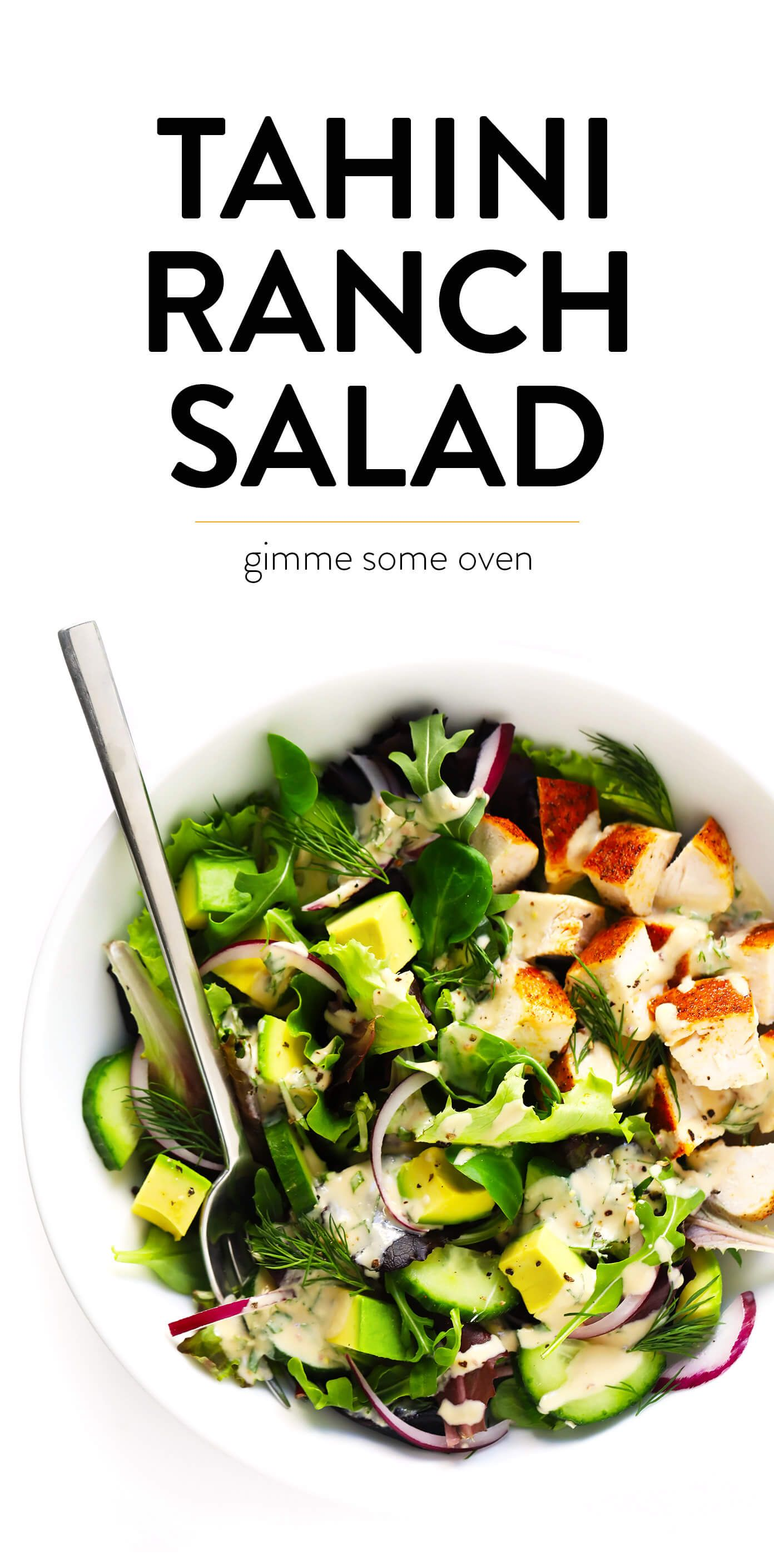 This Tahini Ranch Avocado Chicken Salad is made with your choice of greens and veggies, tender bake