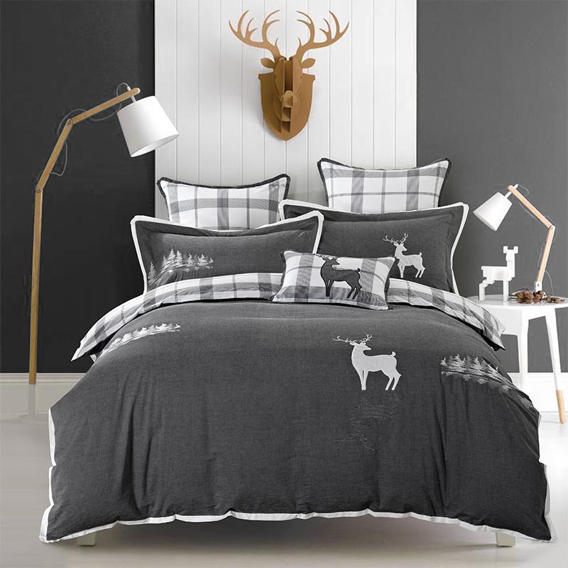 Embroidered Deer Bed Duvet Cover Set Bed Linens Luxury Bedding Sets Grey Bedding Sets