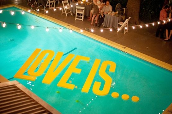 fun and funky pool decor for your backyard wedding | floating pool