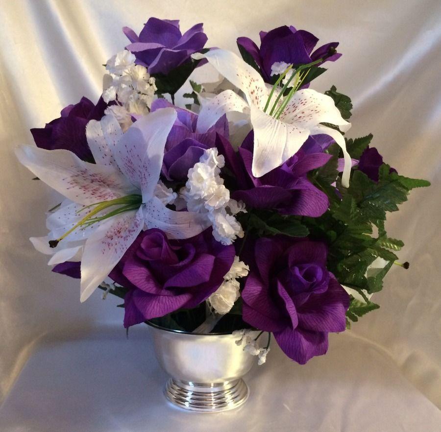 Purple Lavender Centerpiece Silk Wedding Flower Altar Arrangement