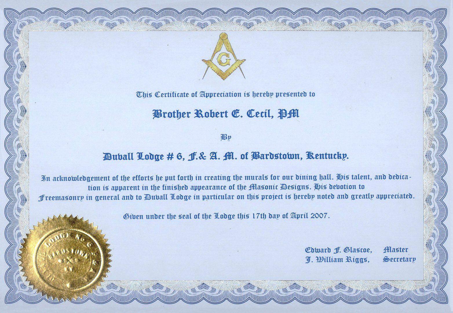 Masonic Certificate Of Appreciation Fresh Masonic Certificate Templa Certificate Of Appreciation Certificate Of Recognition Template Certificate Templates Free