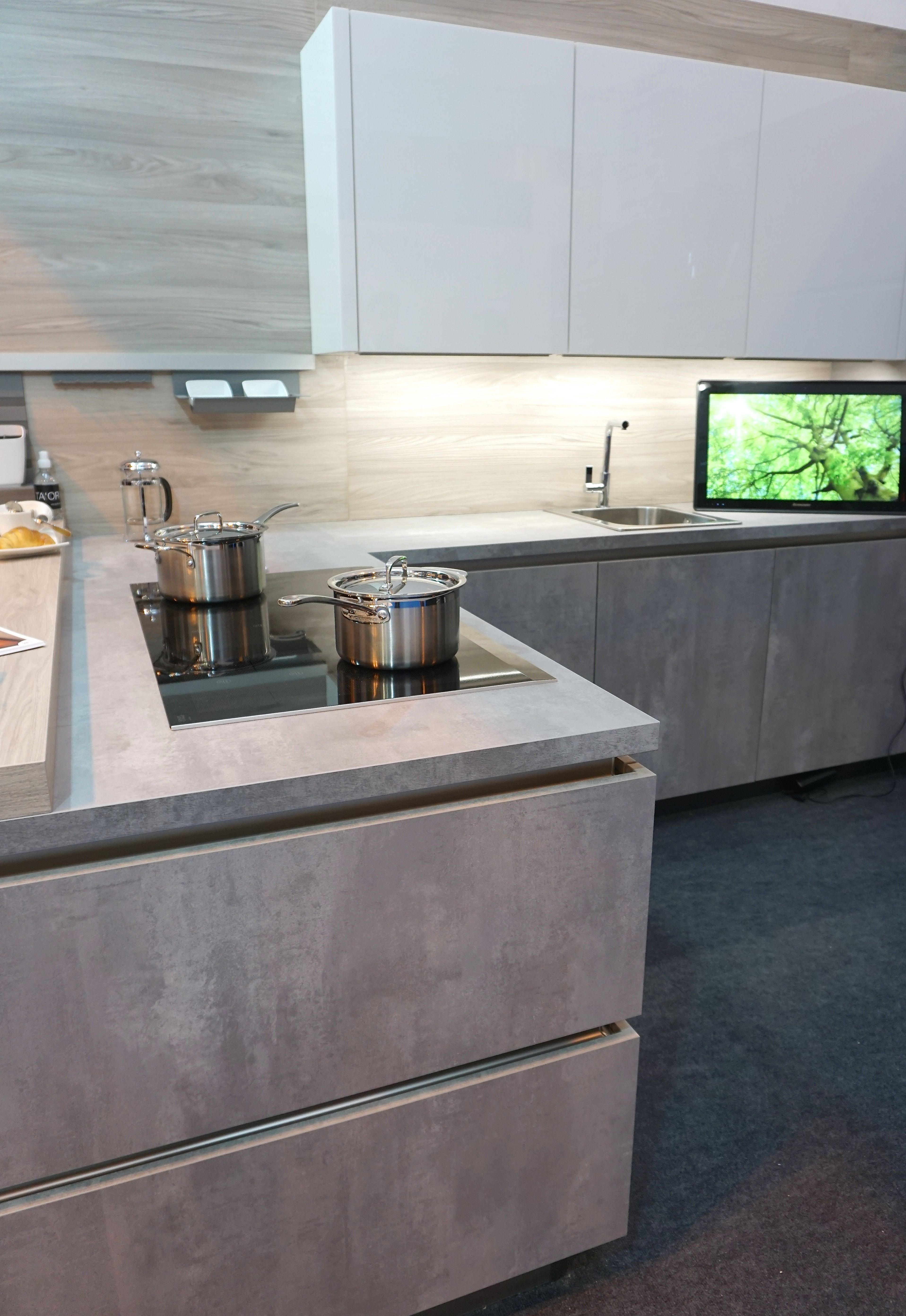 Concrete effect kitchen unit doors at KBB 2016
