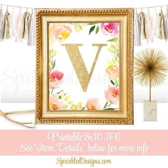Name Initial Monogram Sign Letter V Printable by SprinkledDesign ...