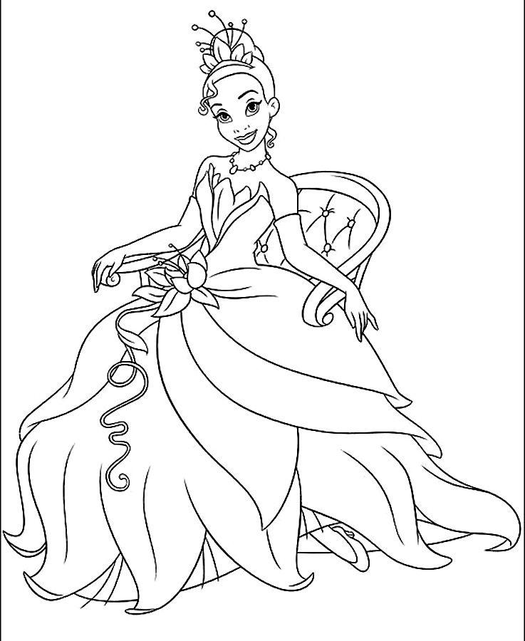 Tiana colouring page | Princes En De Kikker - Colores, Tiana en ...