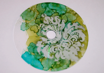 alcohol ink on clear cd