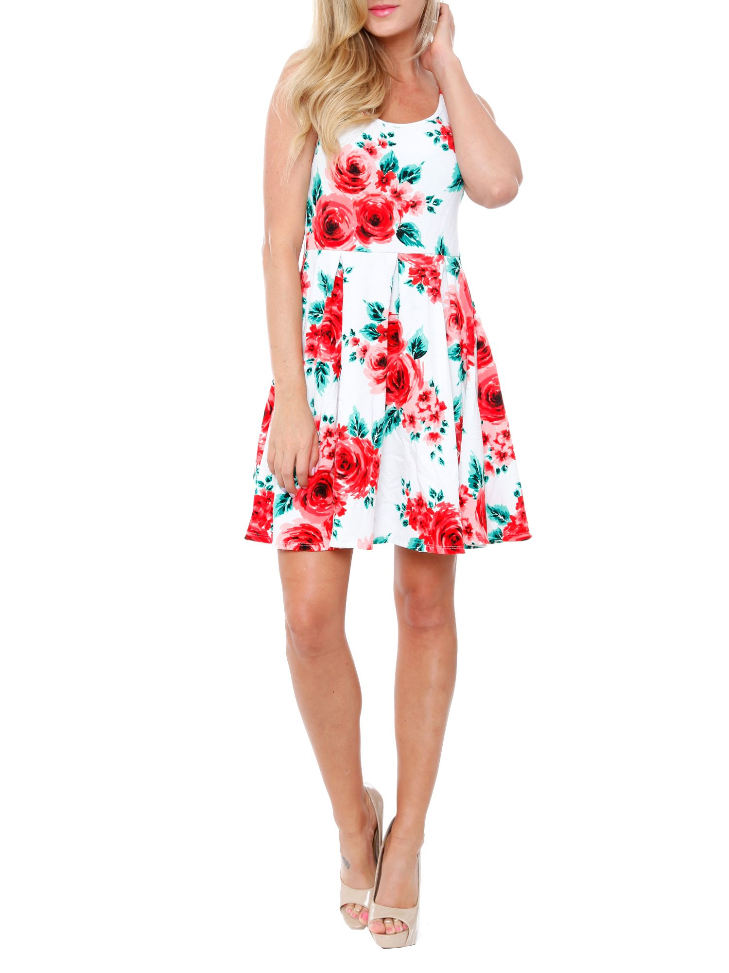 White Mark Women S Floral Fit And Flare Mini Dress Walmart Com Flare Mini Dress Mini Dress Fit And Flare Dress [ 2000 x 1500 Pixel ]