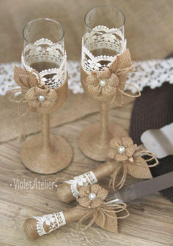 Matrimonio Rustico Como : Rustic wedding set burlap lace toasting flutes & cake cutting set