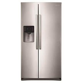 Samsung 24 5 Cu Ft Side By Side Refrigerator In Stainless Steel Rs25h5111sr The Home Depot Side By Side Refrigerator Stainless Steel Refrigerator Large Appliances