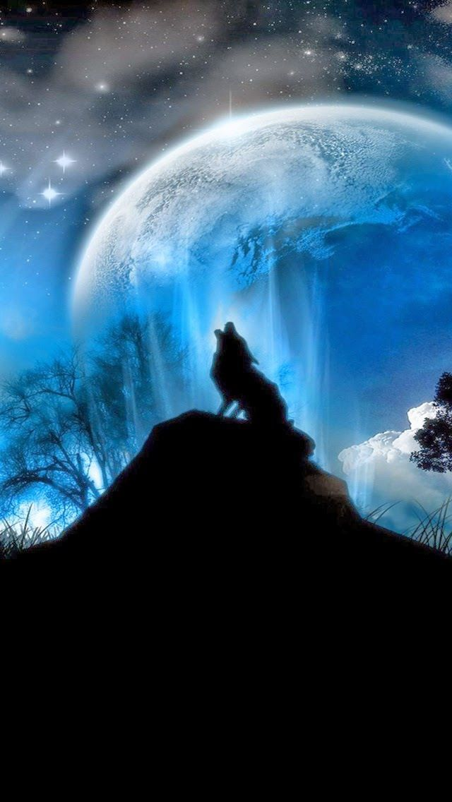 Tap And Get The Free App Space Sky Dark Black Blue Wolf Moon Stars Hd Iphone 5 Wallpaper Beautiful Backgrounds Wallpaper Palette Wall