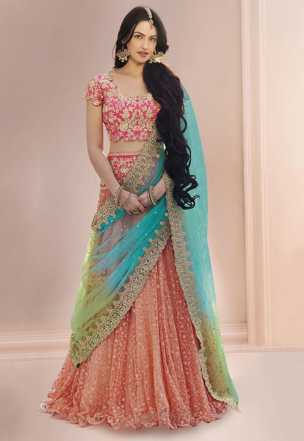 ab3fd07b92 Net Lehenga in Peach Prettified with Zari, Resham, Sequins and Beads Work  Available with a Pink Semi-stitched Art Dupion Silk Choli and a Light Blue  and ...