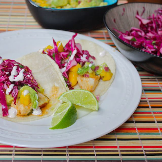 Fish Tacos with Avocado-Mango Relish, Red Cabbage Slaw, & Chipotle-Lime Crema