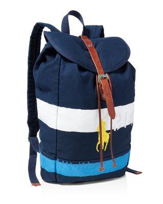 45b5b2edb POLO RALPH LAUREN Striped Canvas Rucksack Backpack. #poloralphlauren #bags  #leather #canvas #backpacks #cotton #