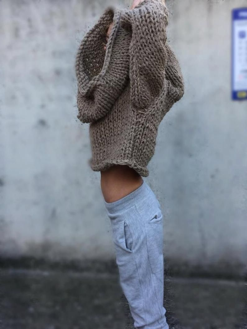 Photo of Beige over sized Hooded sweater, chunky, slouchy