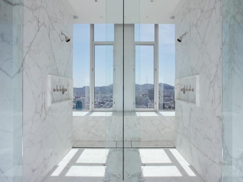 Prefer double showers opposite like this instead of side by side ...