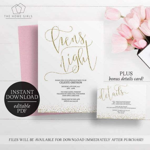 Printable gold hens night invitation editable template hens printable gold hens night invitation by paperminxprintables stopboris Image collections