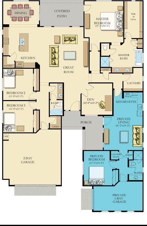Minus In Laws Quarters Multigenerational House Plans Family House Plans Multigenerational House