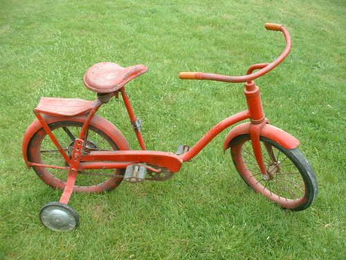 Antique Vintage Childs Bicycle Bike Training Wheels Red Steel Trike Old Retro Kids Bike Bike Training Bicycle Bike