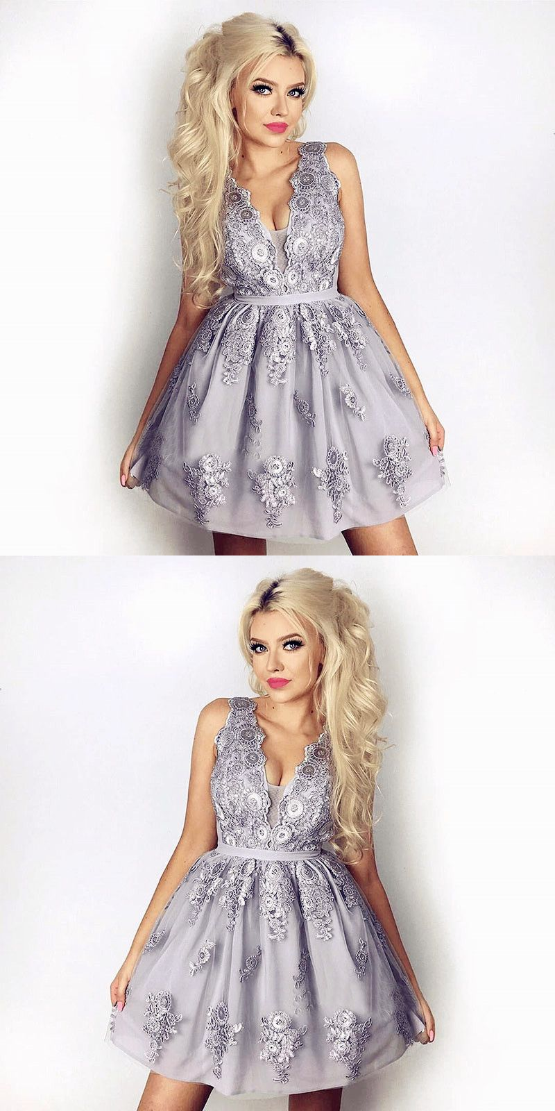 Vneck aline light grey lace short homecoming dress with appliques