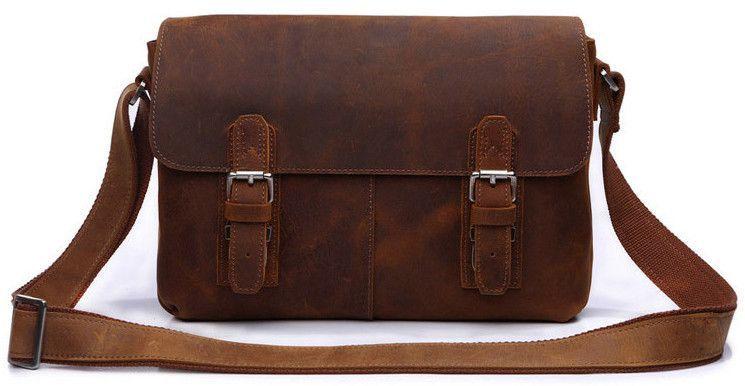 Mens Vintage Real Leather Casual Messenger Satchel Laptop Briefcase Shoulder bag