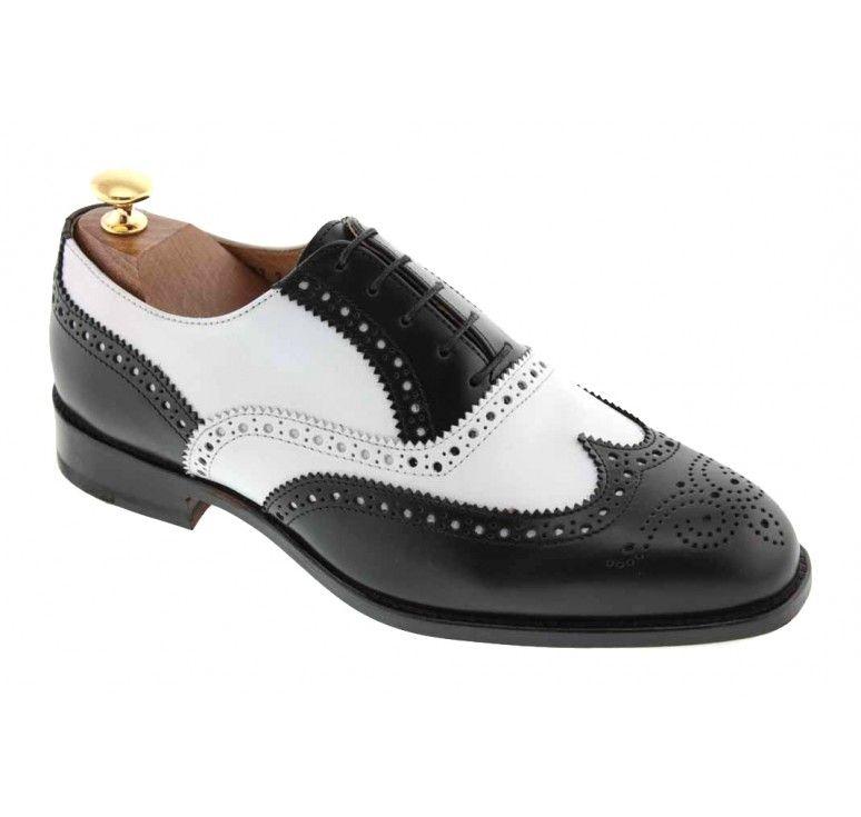 Richelieu Baxton 3763 cuir bicolore noir et blanc