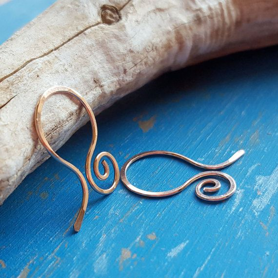 14k Rose Gold Filled Earring Findings, Small Swirly Hoops, Handmade ...