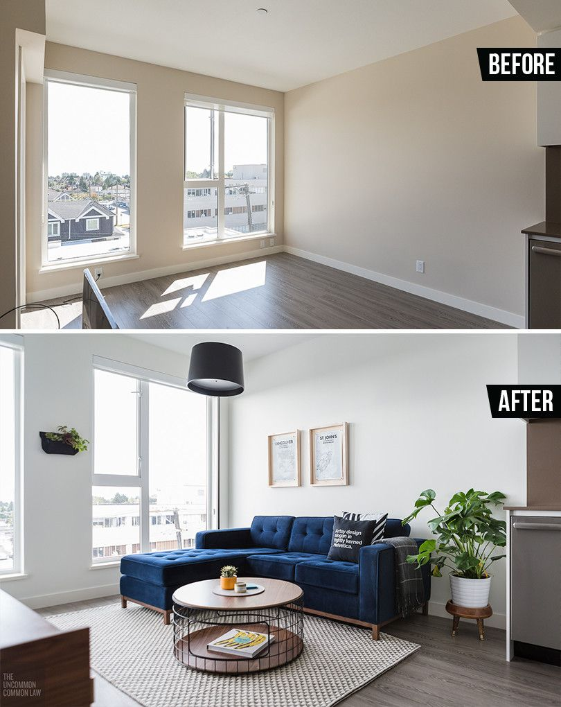 Mid Century Modern/Industrial Inspired Living Room Makeover. Tiny Living  Room Rental Makeover. Gus Modern, SAM Design, EQ3. Jane Bi Sectional Loft  Couch In ...