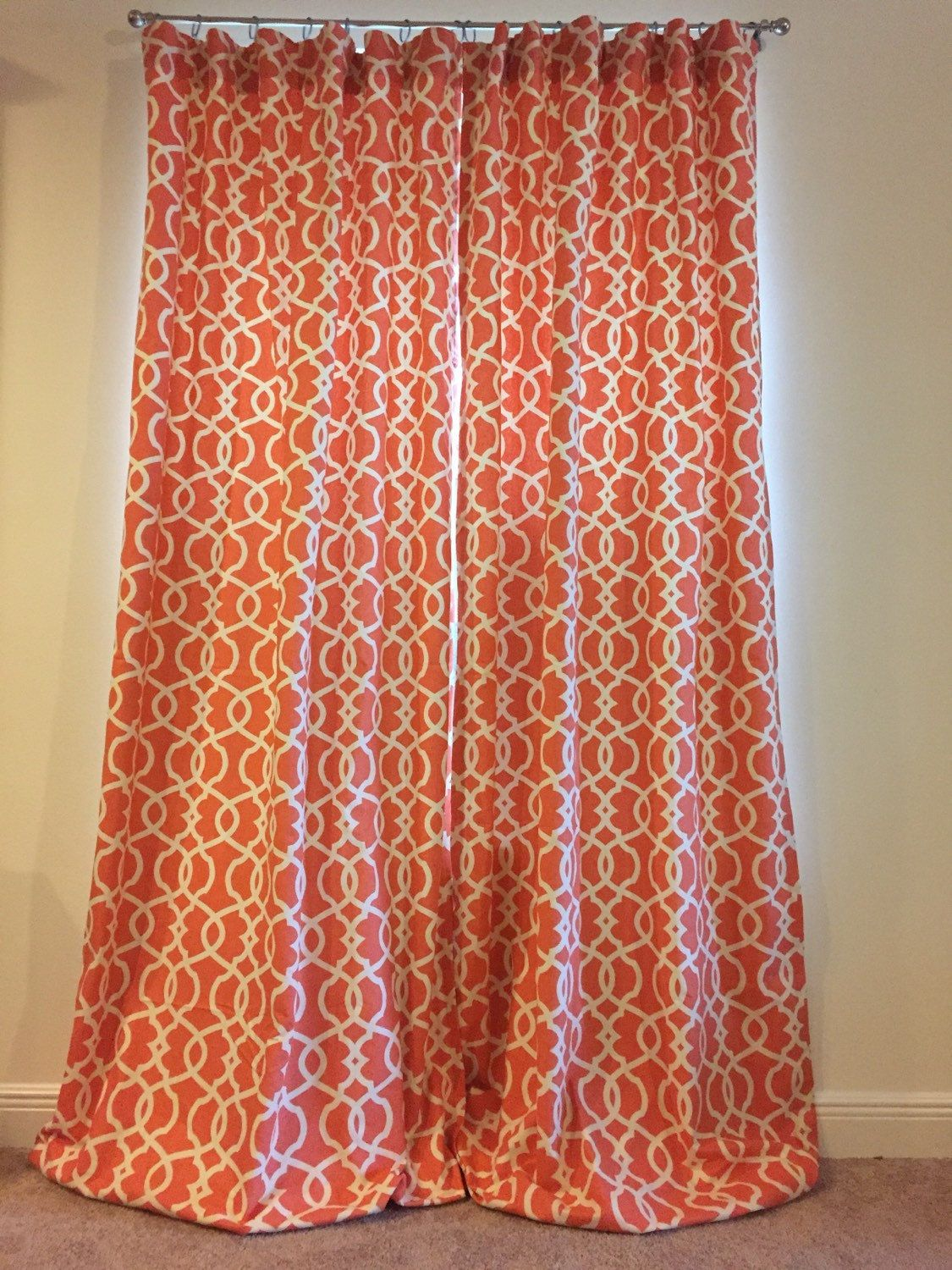 Pair Of Ring Top Tangerine Trellis Drapes 50 X 107 With Thermal Suede Lining Ready To Ship Eclectic Design Drapes Grommet Pleated Drapes