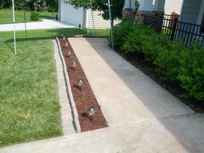sidewalk edging with solar lights for the home