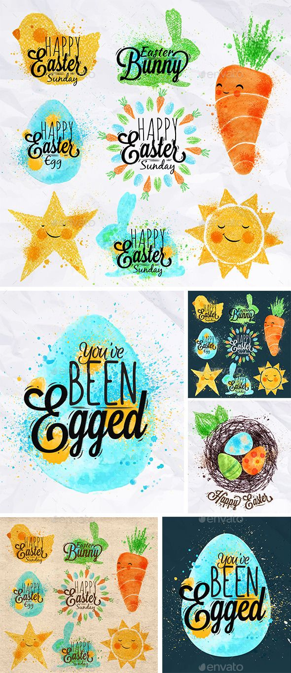 Easter Signs,banner, bunny, carrot, celebrate, chalks, characters, collection, crayons, decoration, design, drawing, easter, egg, element, greeting, happy, holiday, icon, illustration, label, love, pastels, poster, rabbit, symbol, text, traditional, typography, vector, vintage