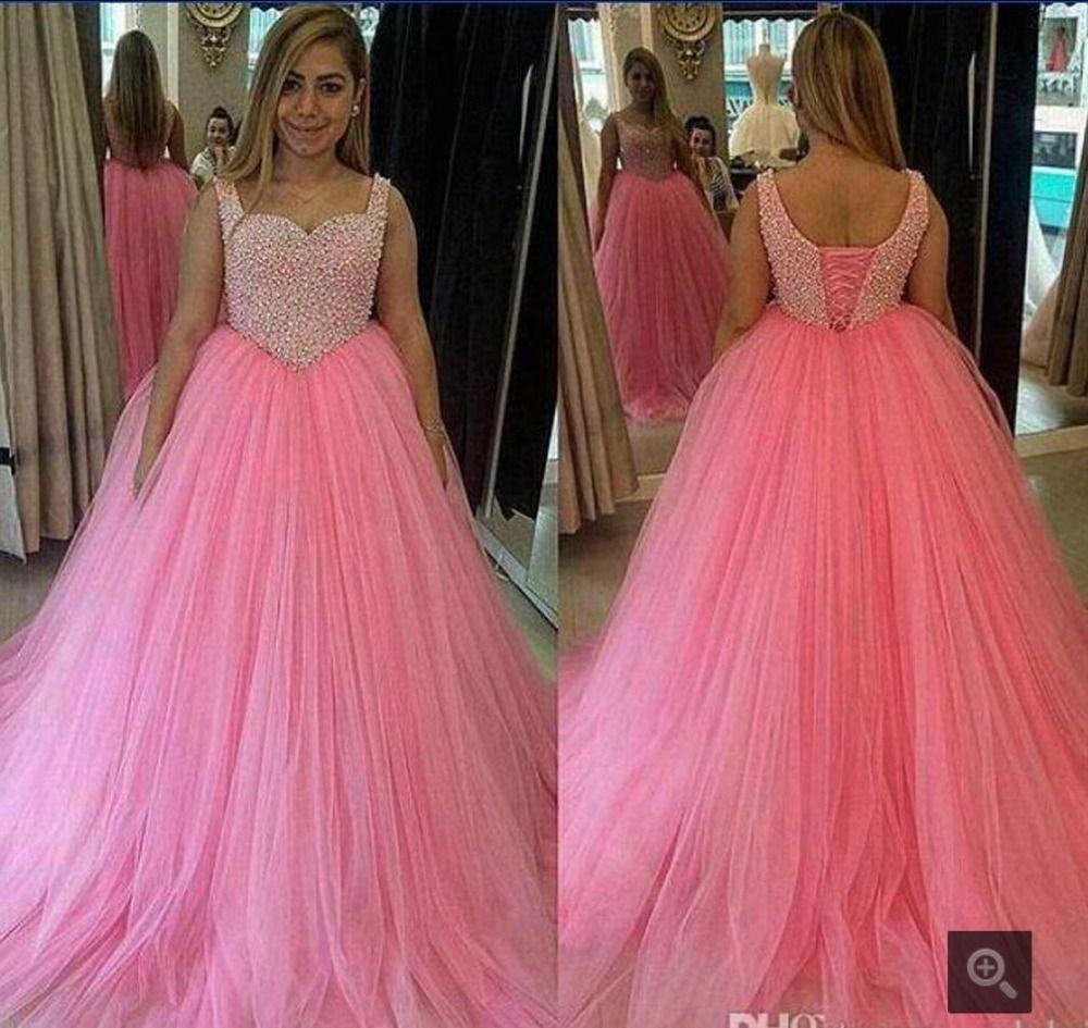 Puffy pink beading rhinestones prom dresses long spaghetti