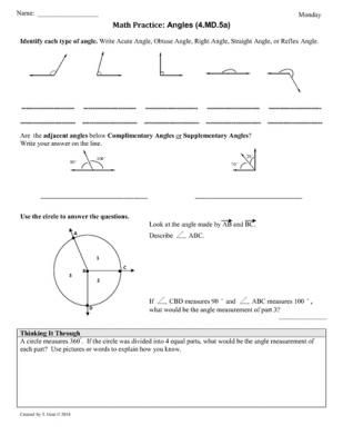 45a Angles Part 1 4th Grade Common Core Math Workshee