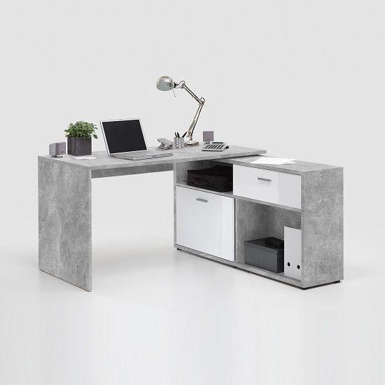 Mattia Corner Computer Desk In White Gloss And Light Atelier Computer Desk In Bedroom Computer Desk Design Computer Desk