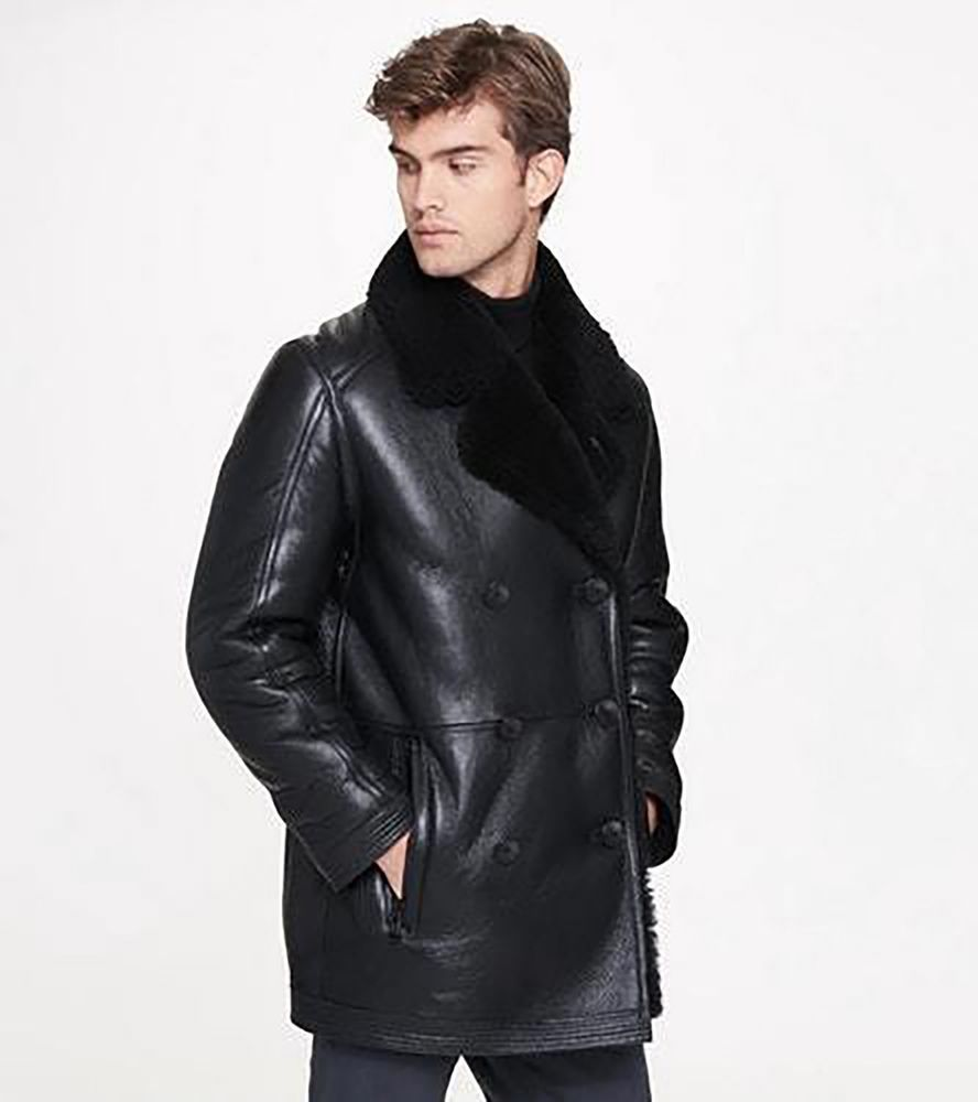 Andrew Marc Frontier Mens Genuine Shearling Black Double Breasted Jacket Size M Leather Jacket Men Style Brown Leather Jacket Men Leather Jacket [ 1000 x 888 Pixel ]
