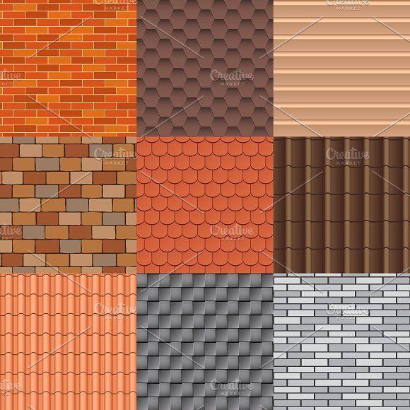 Roof Texture Vector Set In 2020 Roofing Modern Roofing Metal Roof