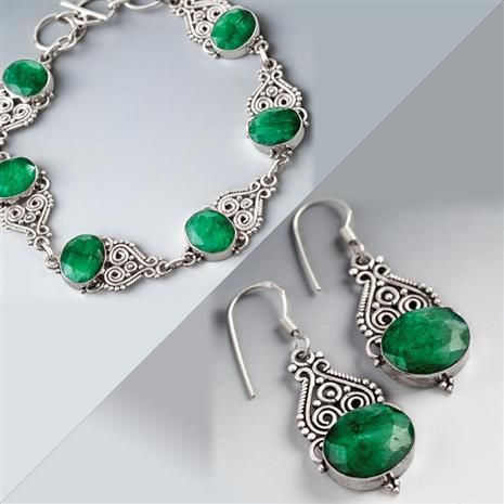 castillo emerald bracelet & earrings set