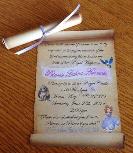 Sofia the First Birthday Invitation – Princess Scroll Birthday Invitations