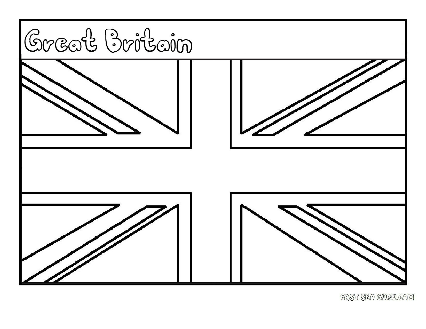 Printable Flag Of Great Britain Coloring Page For Kids