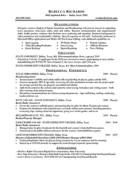 Intern Broadcasting Internship Resume Resume Objective Examples Resume Examples